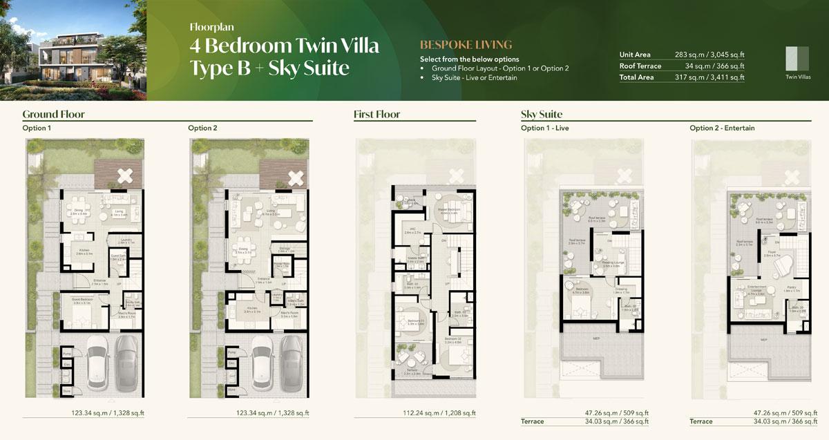 4 Bedroom Twin Villa, Type B + Sky Suite
