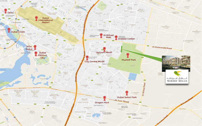 Mirdif-Hills-Dubai Location Map