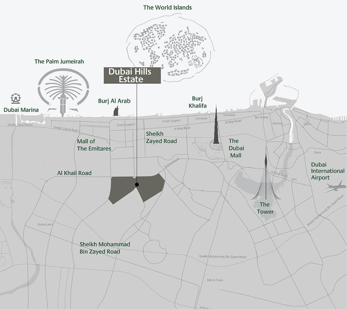 Club-Villas-Dubai-Hills Location Map