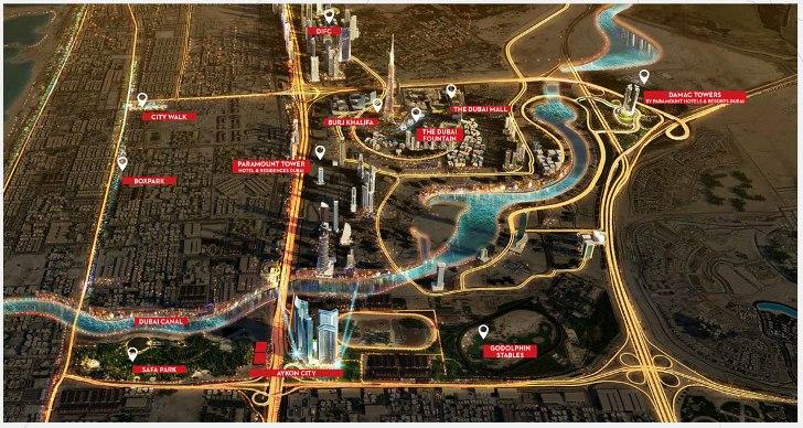 Aykon-City-Tower Location Map