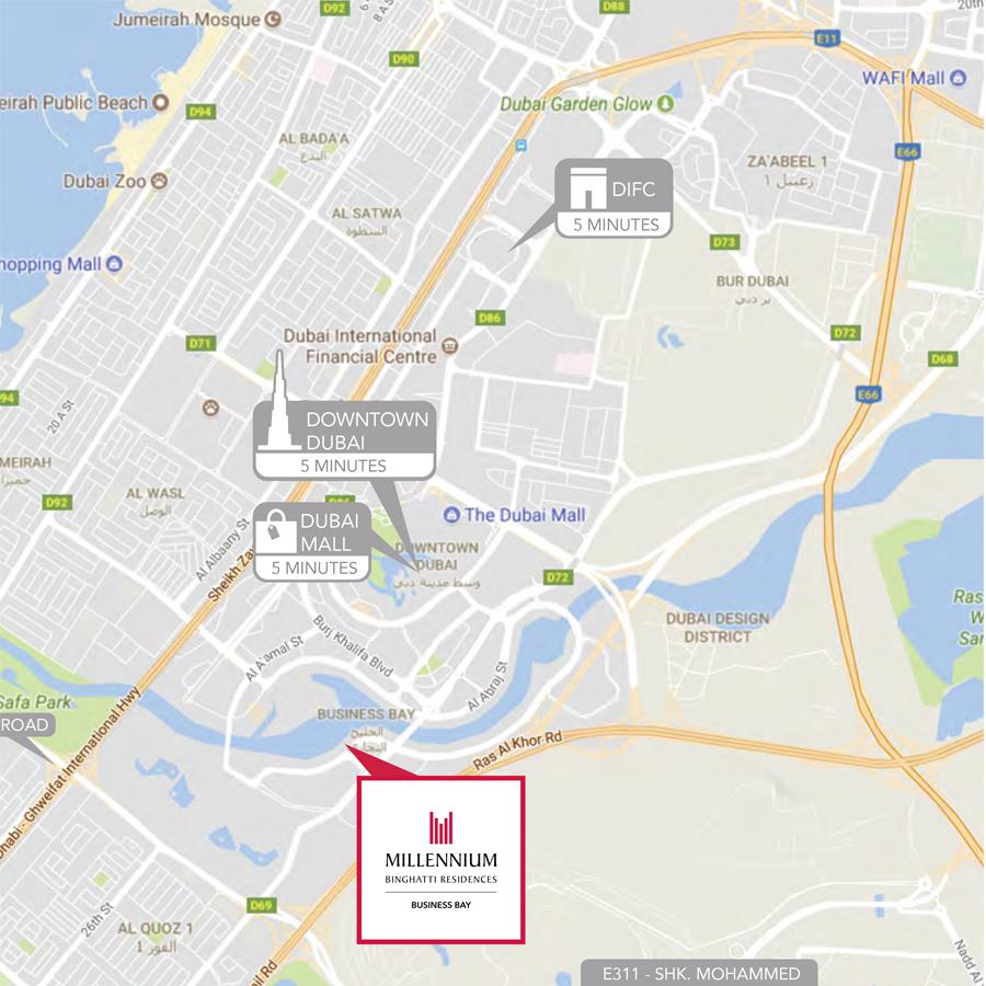 Millennium Binghatti Residences -  Location Plan