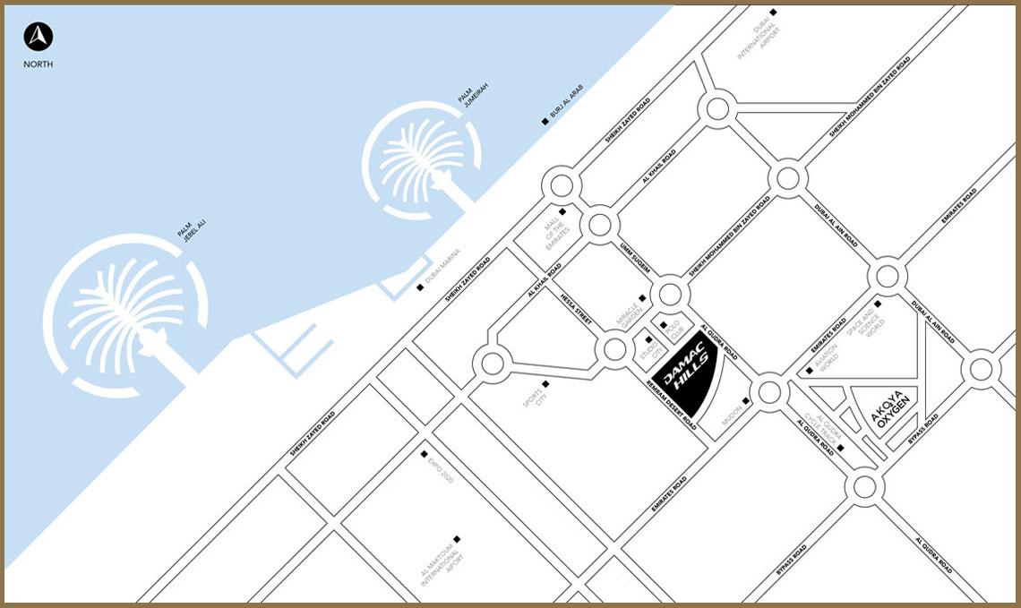 Damac-Radisson-Hotel Location Map