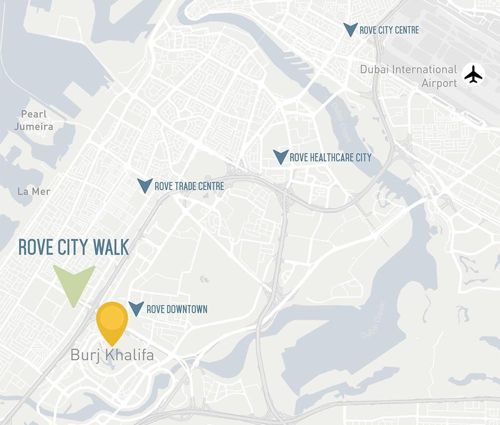Rove-City-Walk Location Map