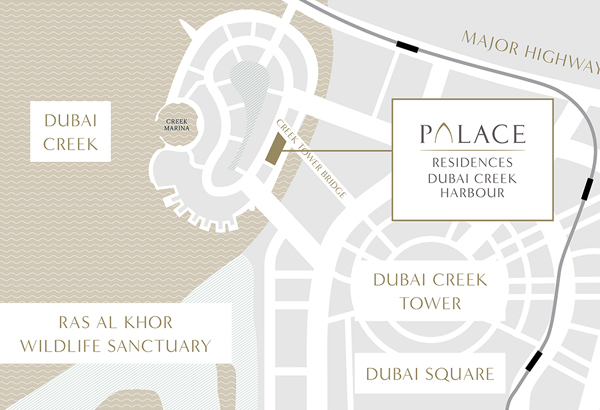 Emaar-Palace-Residences Location Map