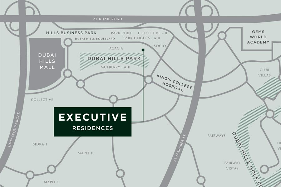 Emaar-Executive-Residences Location Map