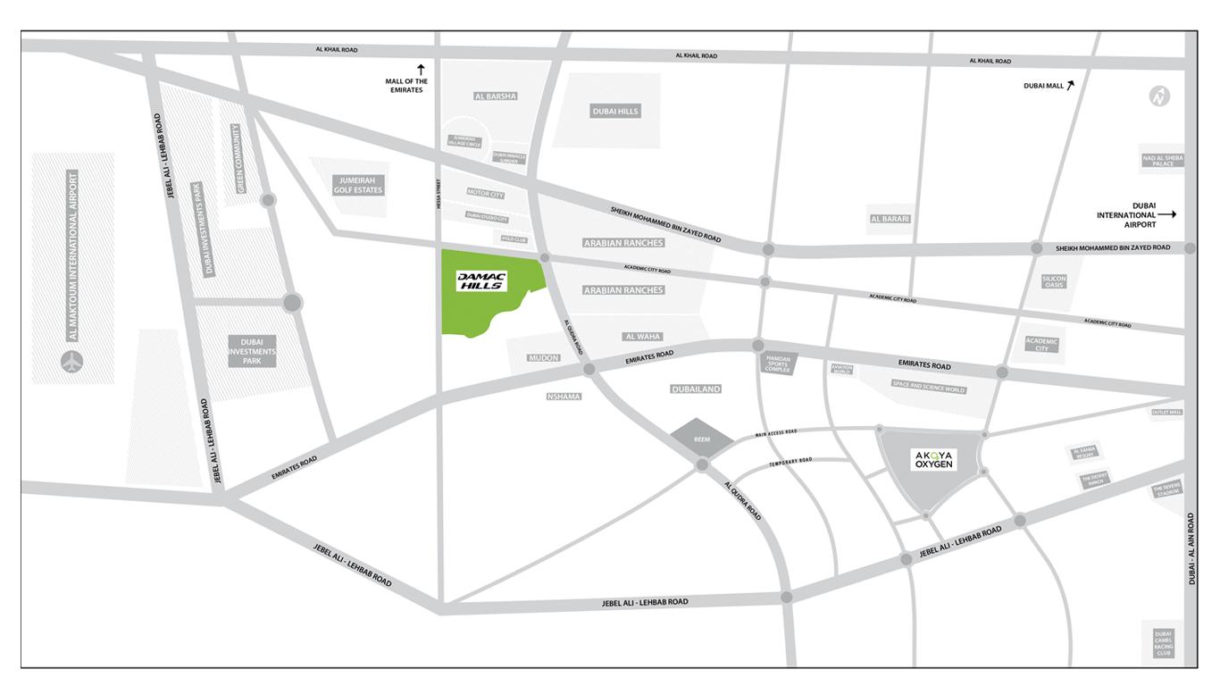 Damac Hills Townhouses -  Location Plan