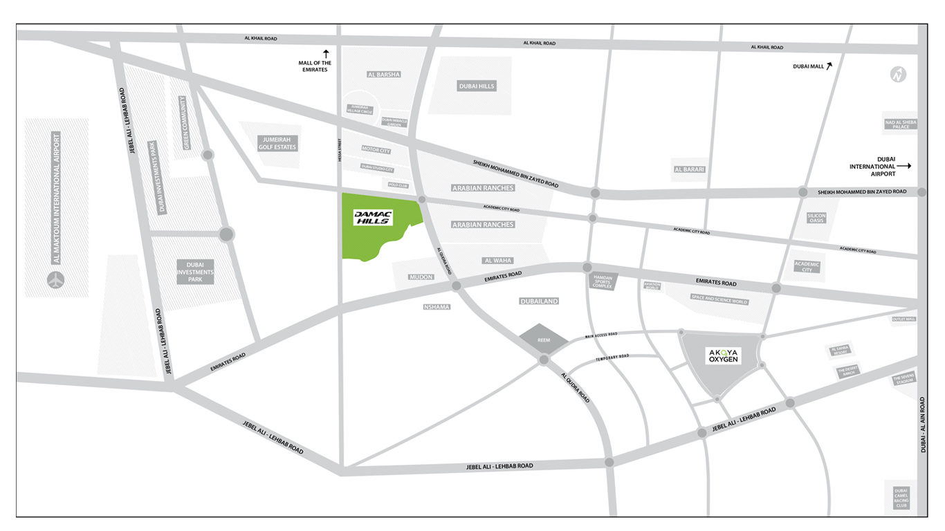 Damac-Hills-Townhouses Location Map
