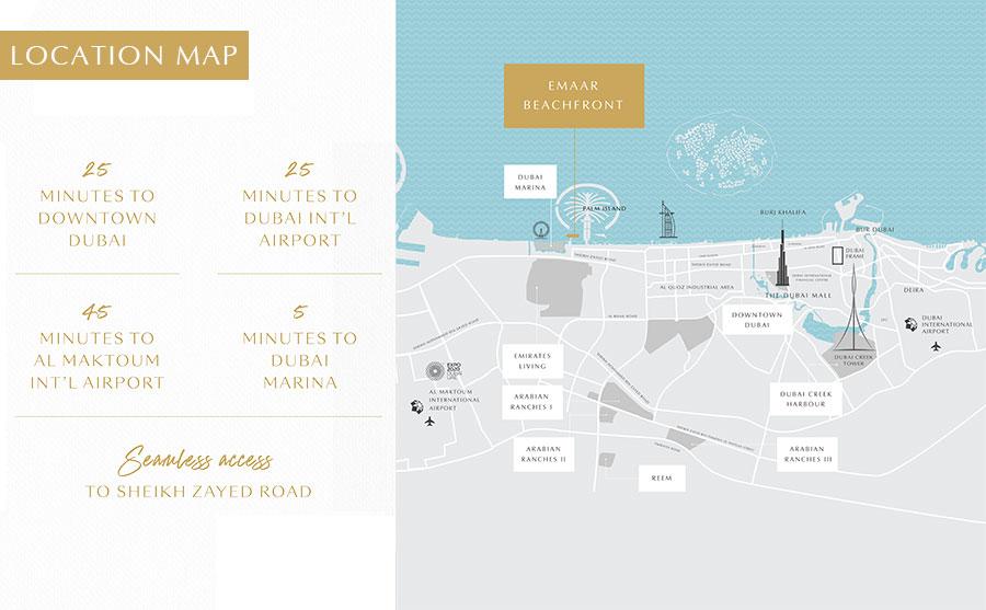 Elie-Saab-Tower-at-Emaar-Beachfront Location Map