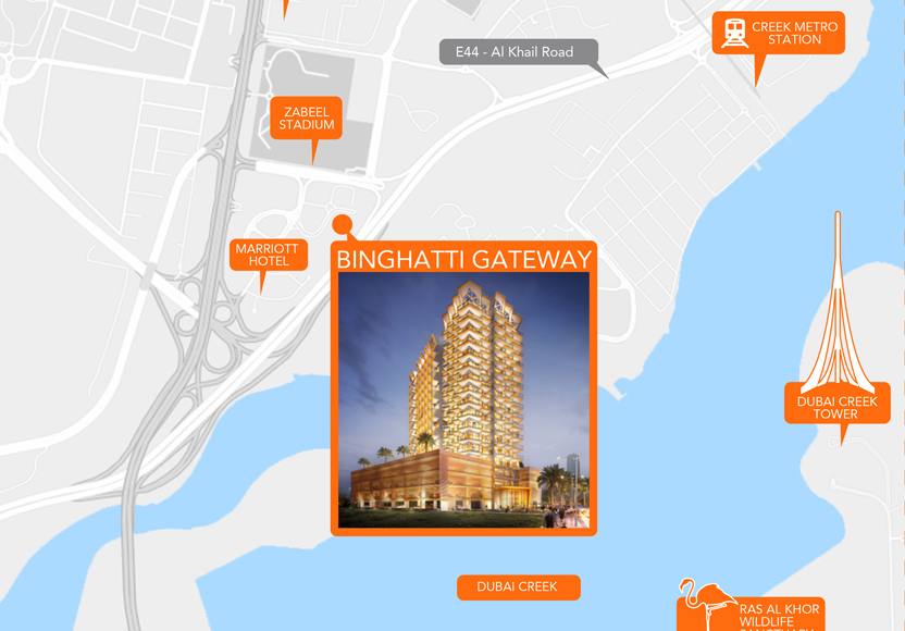 Binghatti-Gateway Location Map