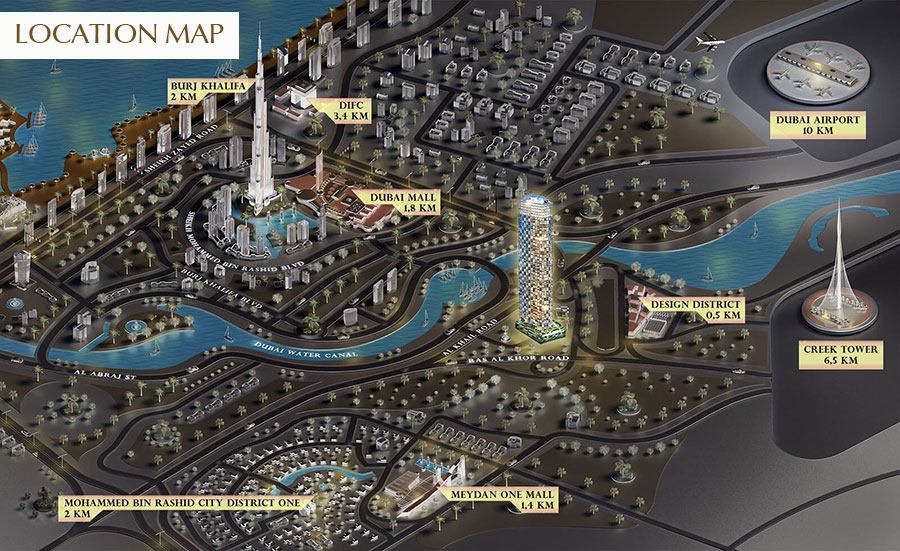 SLS-Dubai-Residences Location Map