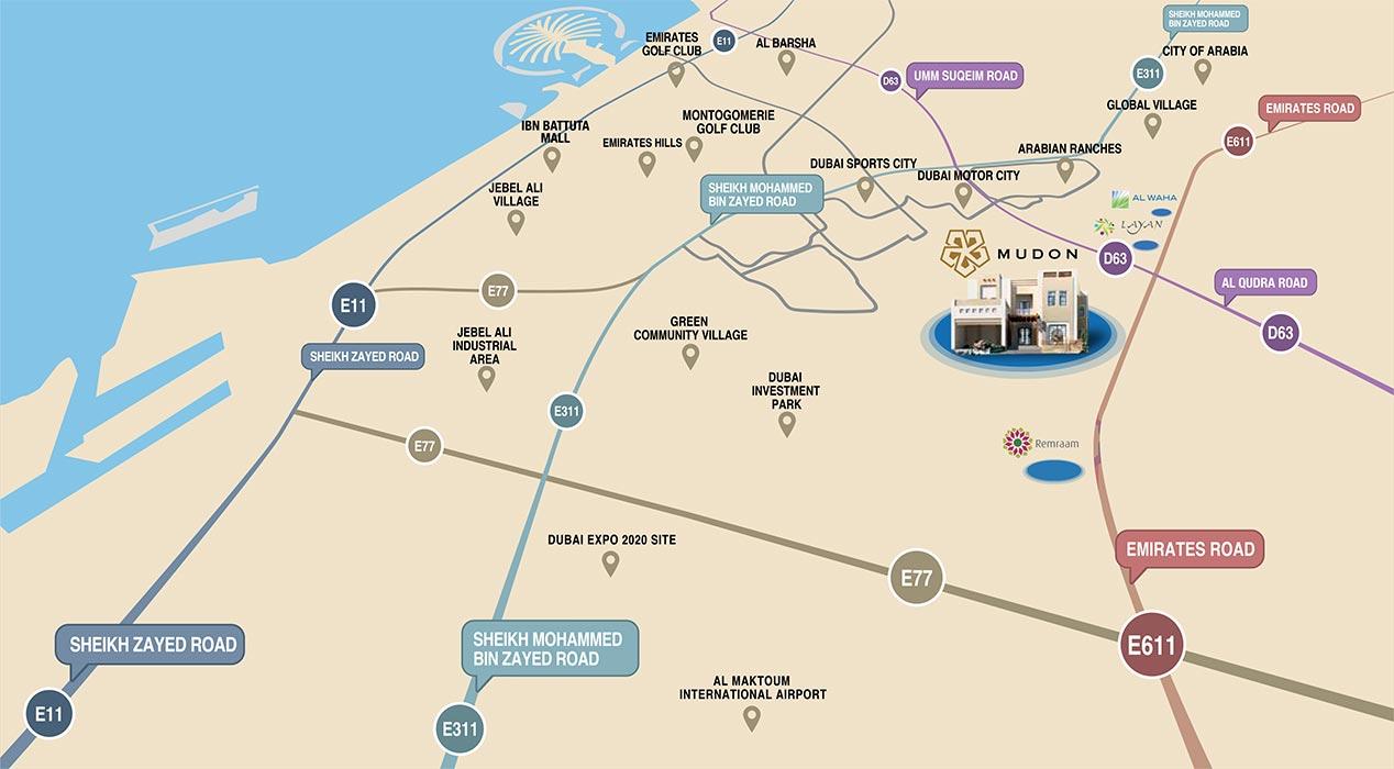 Mudon Views Apartments -  Location Plan