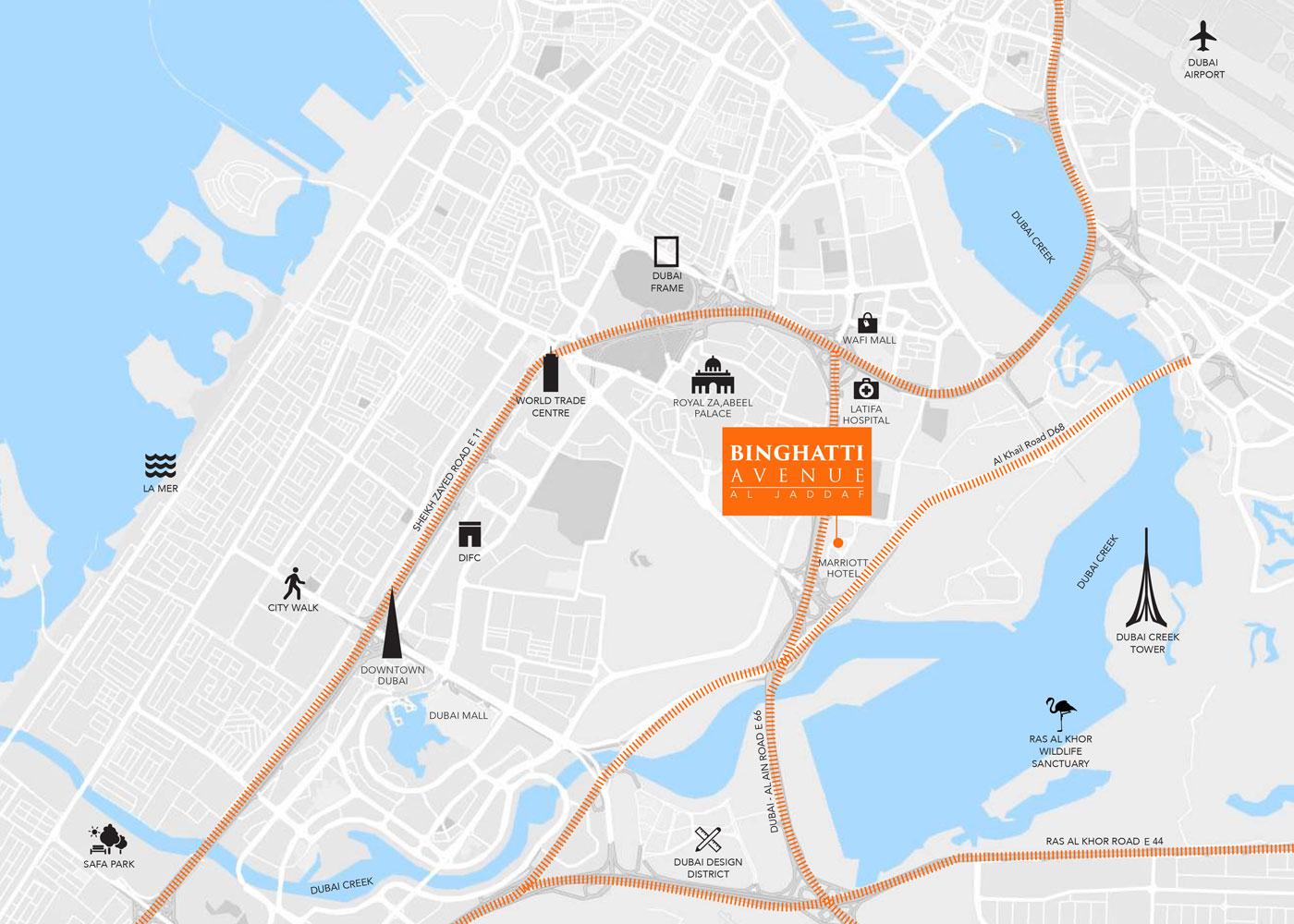 Binghatti Avenue -  Location Plan