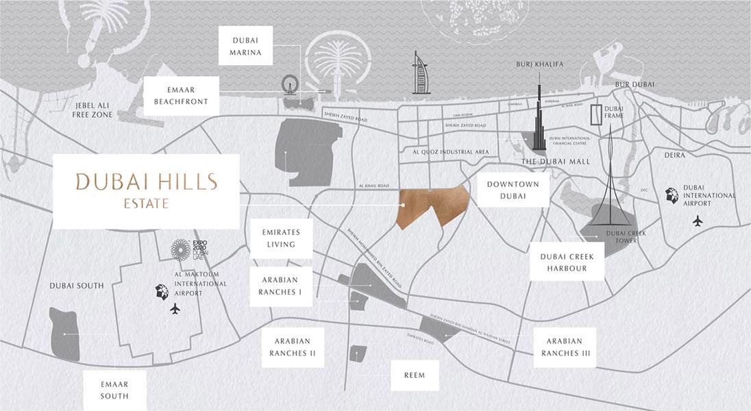 Emaar-Rove-at-Dubai-Hills Location Map