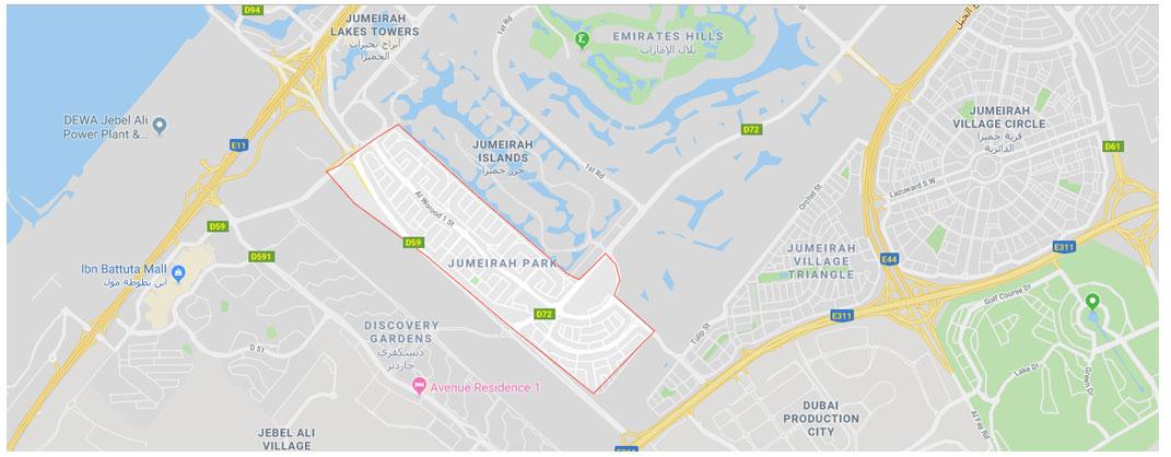 Nova-Jumeirah-Park-Villas Location Map