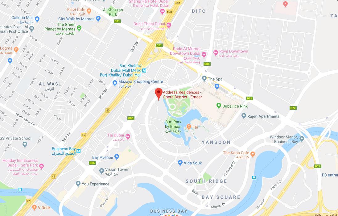 Address Residences Dubai Opera -  Location Plan