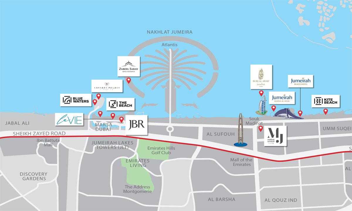 La-Vie-at-JBR Location Map