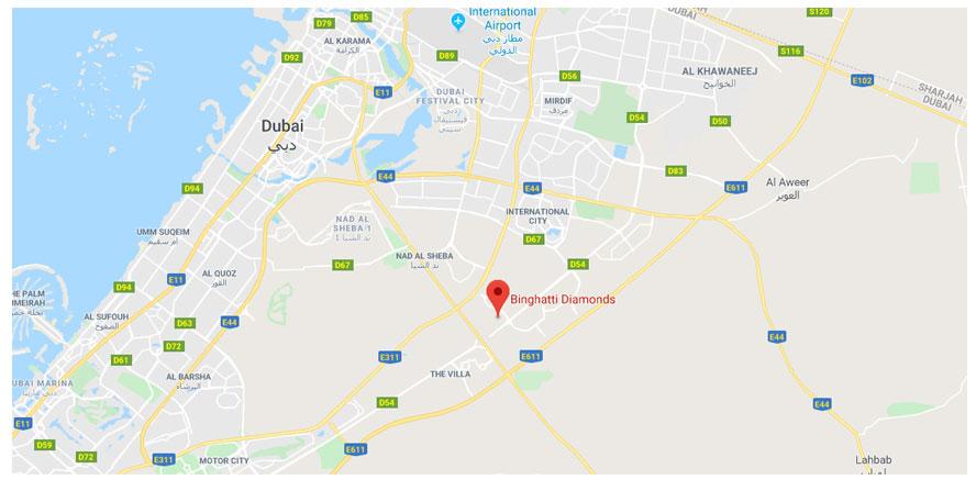 Binghatti-Diamonds Location Map