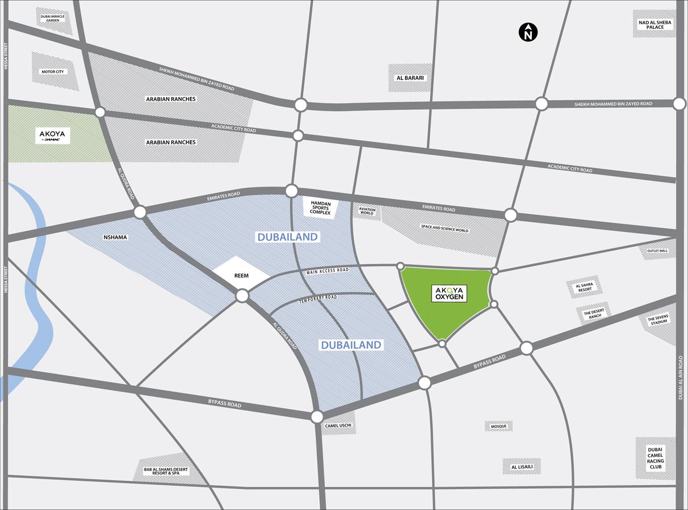 Damac Akoya Imagine Plots -  Location Plan