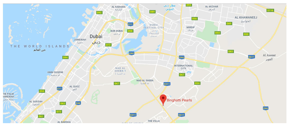 Binghatti-Pearls Location Map