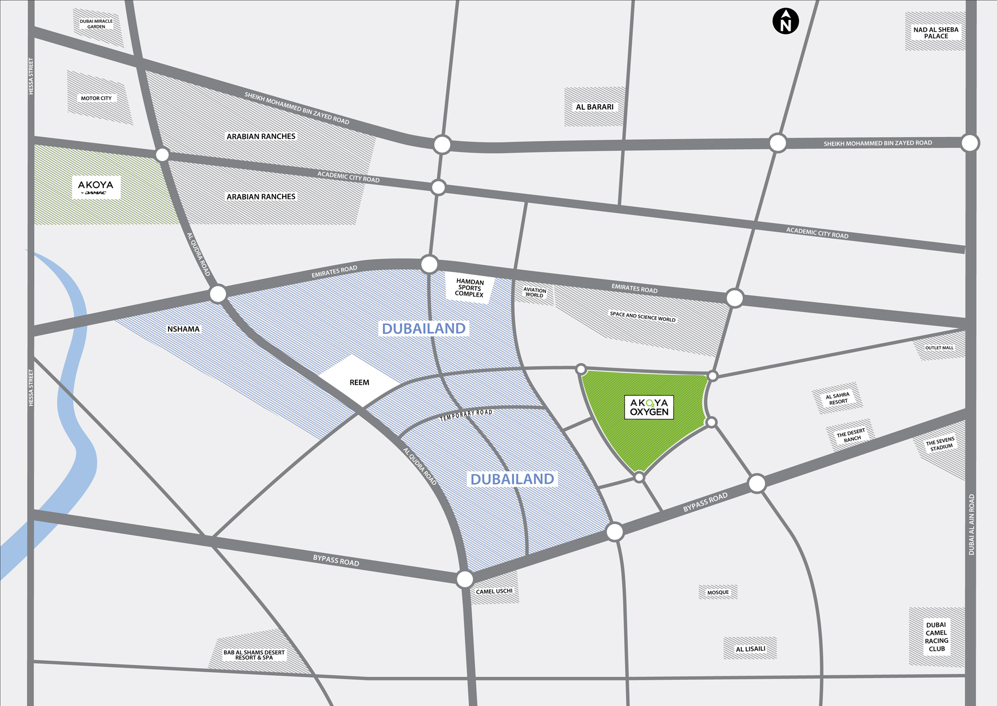 Damac-Akoya-Imagine-Villas Location Map