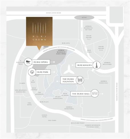 Burj-Crown Location Map