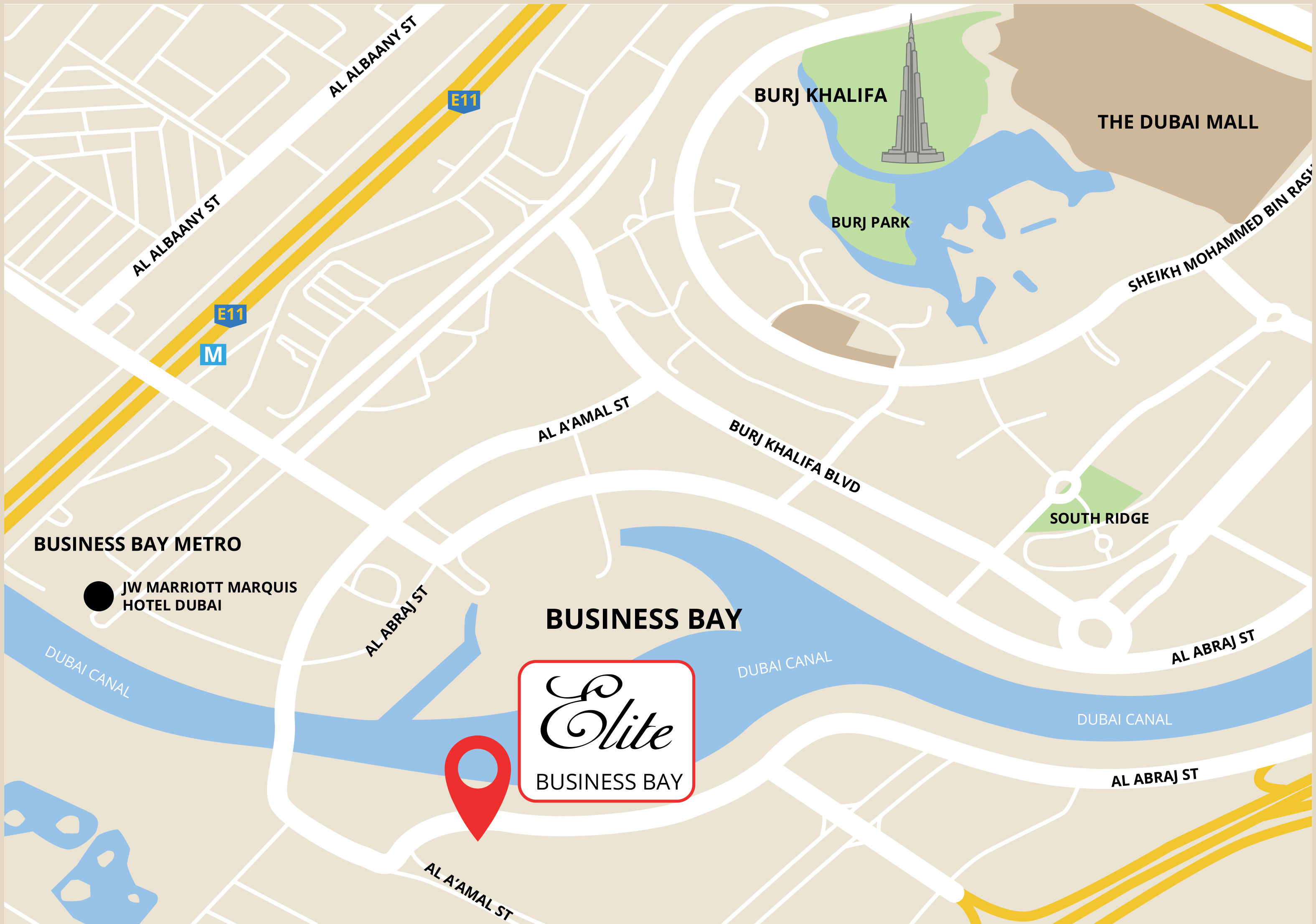 Elite-Business-Bay Location Map