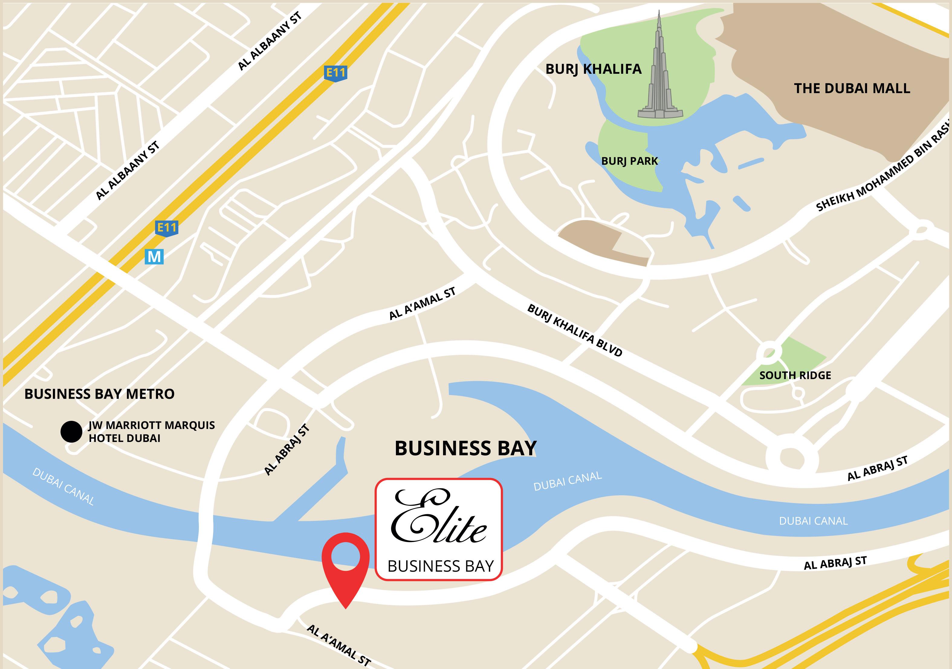 Elite Business Bay -  Location Plan